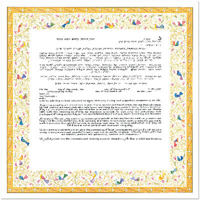 Ketubah by Mickie Caspi,Birds of Paradise Yellow