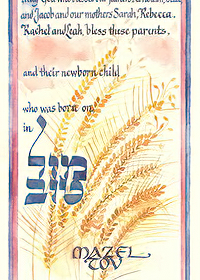 Ketubah by Sivia Katz,Birth Naming Certificate