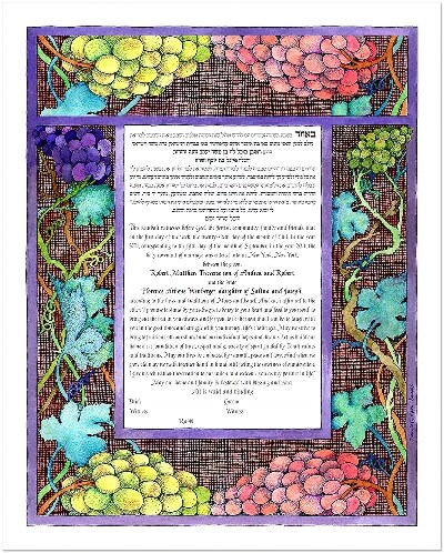 Ketubah by Bonnie Gordon-Lucas,Grape Harvest