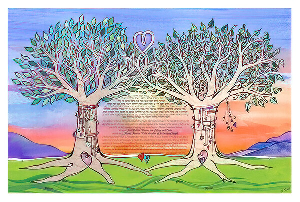 Ketubah by Joanne Fink,Intertwined Trees