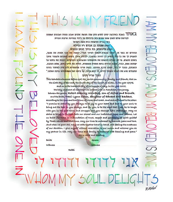 Ketubah by Ray Michaels,Rainbow Hamsa